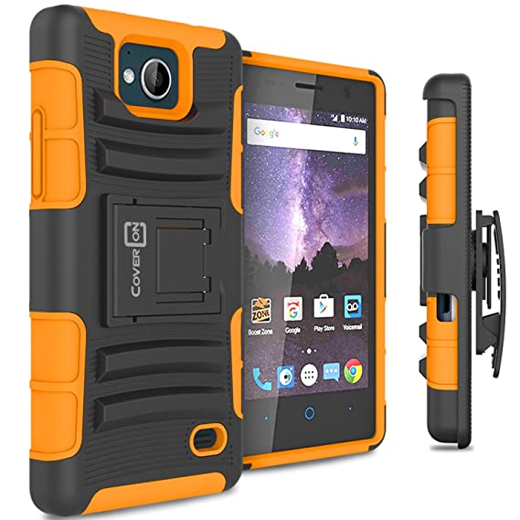 check out 3ac23 3b442 ZTE Tempo Case, CoverON [Explorer Series] Holster Hybrid Armor Belt Clip  Hard Phone Cover For ZTE Tempo Holster Case - Orange