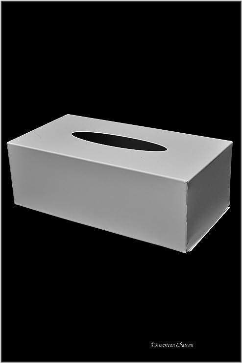 Baño blanco Metal acero dispensador de Kleenex Caja de pañuelos funda soporte