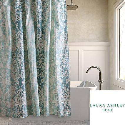 Laura Ashley Connemara Aqua Blue White Ombre Damask Fabric Shower Curtain