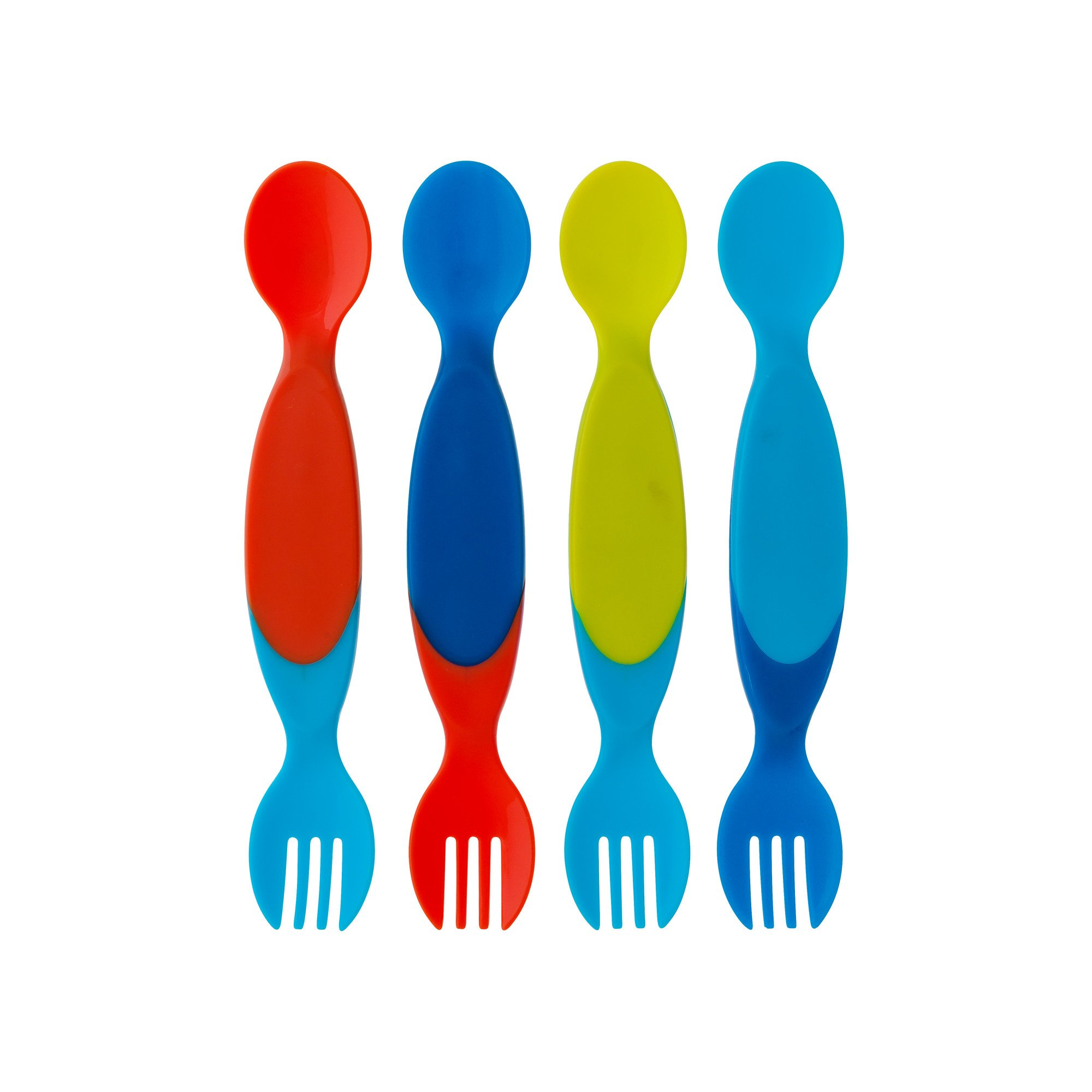 The First Years Two for One Toddler Utensils,Colors May Vary (Pack of 4)