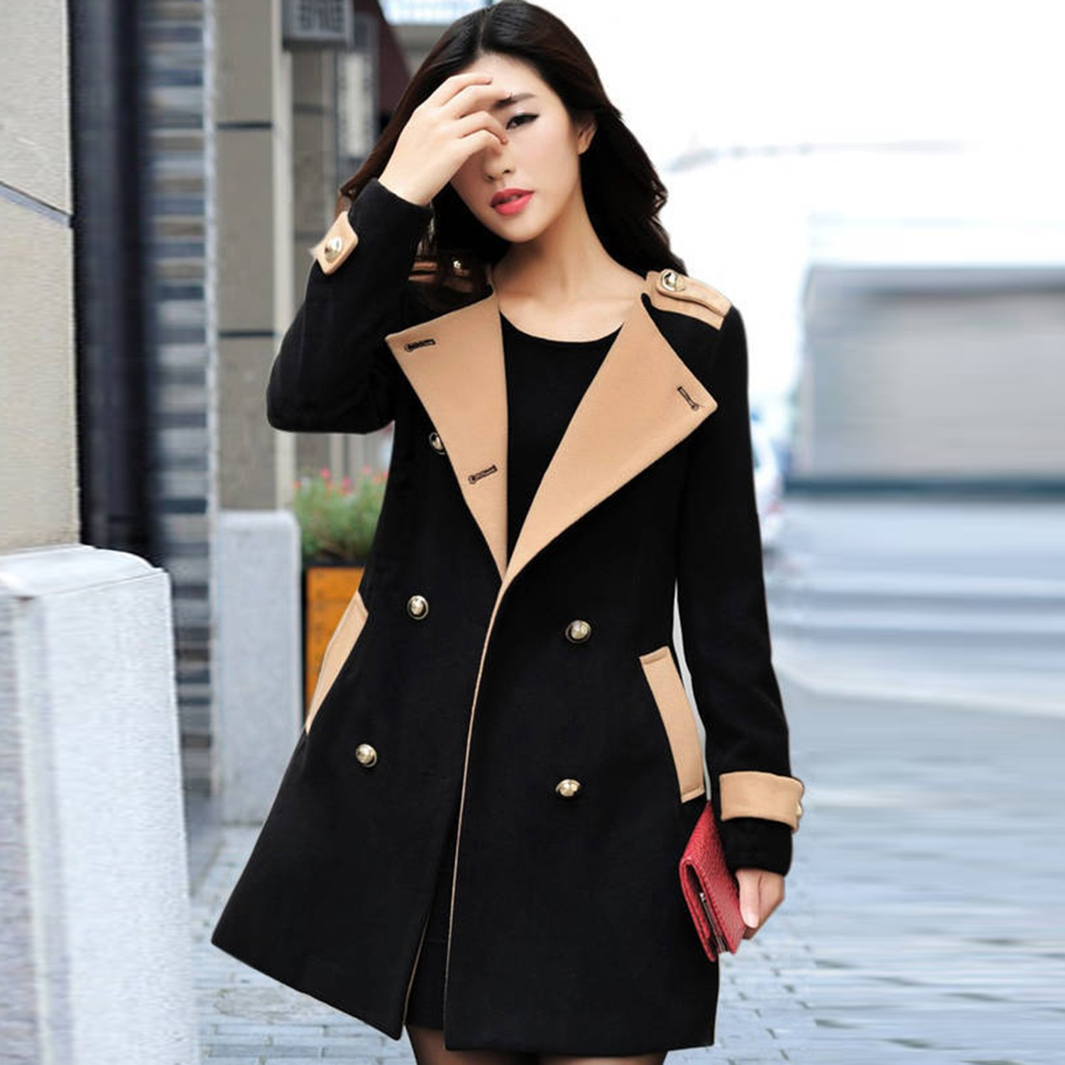 ACHICGIRL Women's Fashion Color Block Double Breasted Woolen Blend Coat