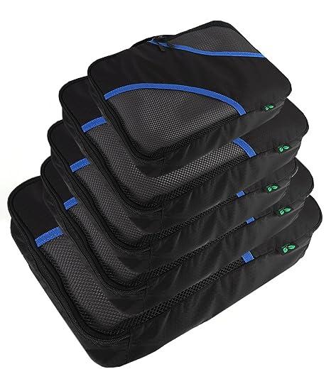 Organizadores de equipaje de viaje 5 Sets Cubos de embalaje F40C4TMP Organizadores de aseo Bolsas, Bolsas de almacenamiento de maleta Negro