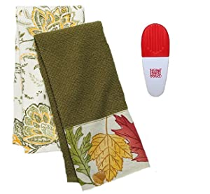 Croft & Barrow Leaf Kitchen Towels 2 Pack and Chip Clip Gift Set