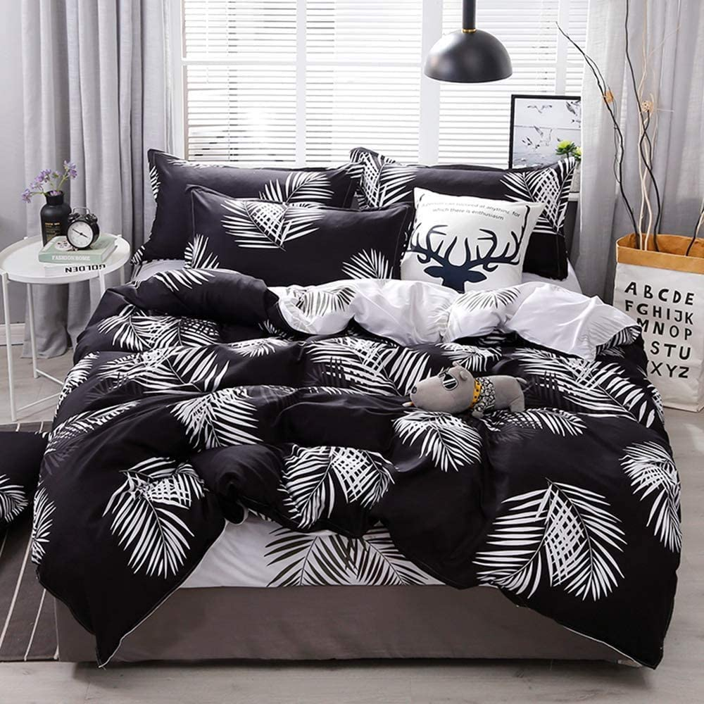 Full Bedding Set 3 Piece Black and White Leaf Pattern Printed Luxury Microfiber Down Comforter Cover with Zip - Soft Breathable Durable Modern Tropical Botanical Decor Duvet Cover for Men,Women Teen