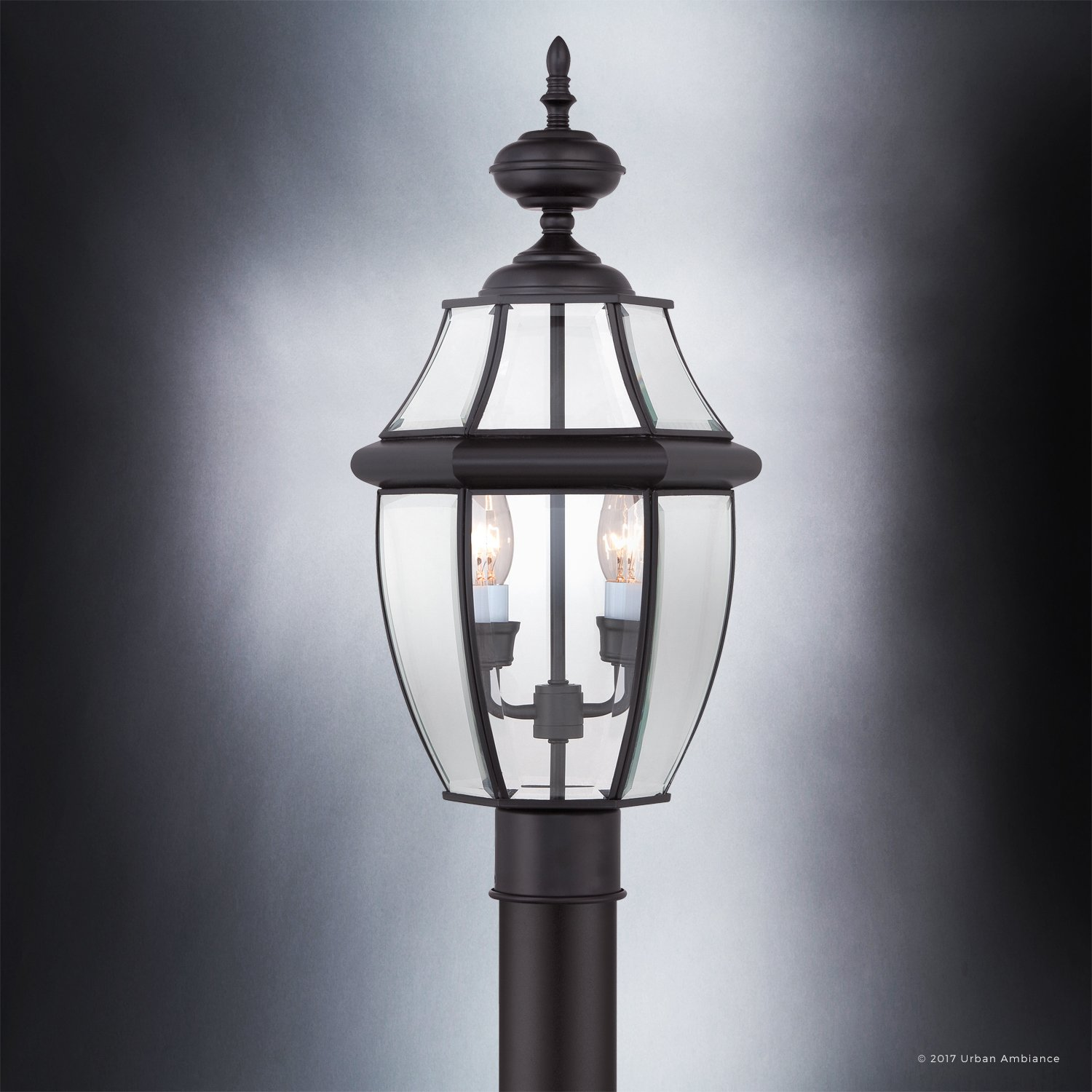 Luxury Colonial Outdoor Post Light, Large Size: 21''H x 11''W, with Tudor Style Elements, Versatile Design, High-End Black Silk Finish and Beveled Glass, UQL1148 by Urban Ambiance by Urban Ambiance (Image #4)