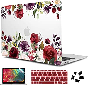 CiSoo MacBook Air 13 Inch Case 2020 2019 2018 Release A2179 A1932,Soft Touch Matte Hard Shell Case Frosted Cover with Keyboard Cover&Screen Protector for New Air 13 Retina Display, Colorful Flowers