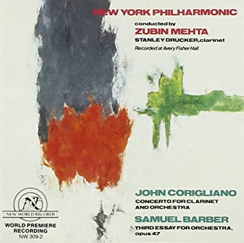 new york philharmonic samuel barber john corigliano zubin mehta  barber third essay for orchestra corigliano concerto for clarinet