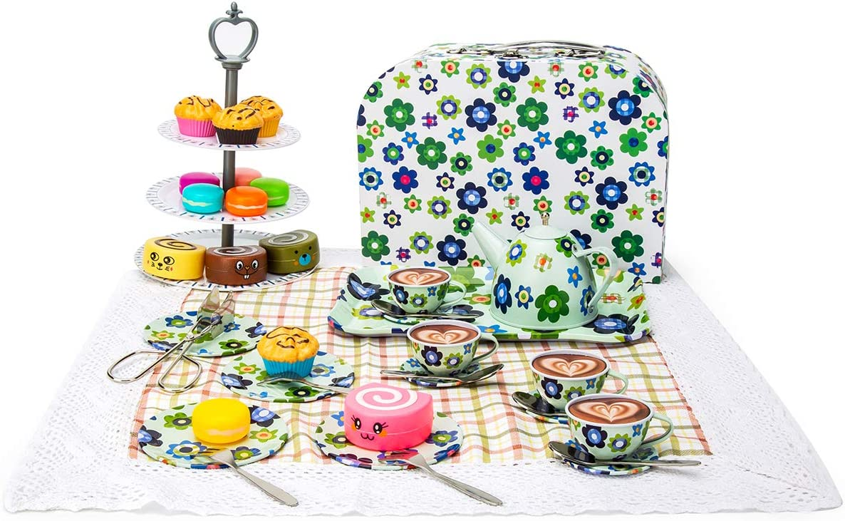 2CFUN Kid Tin Tea Set Toy with Cake Stand and Dessert Play Food Doll TeaTime PartySet for Girl Boy KidsEating Set Snack Teapot Gift for Birthday (44 Pieces)