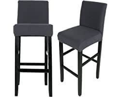 Hazeland Stretch Bar Stool Chair Cover Slipcovers, Easy Fitted Removable Washable Furniture Protector for Dining Room Hotel B