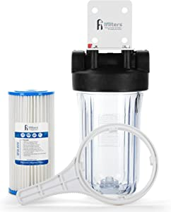 """Well Water Whole House Sediment & Rust Complete Filtration System with Pleated Washable filter, Clear Housing 1"""" Ports"""
