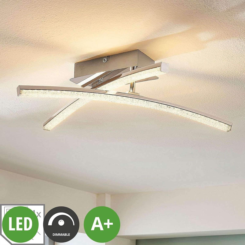 in Chrom aus Metall u.a - Lampe LED-Deckenlampe f/ür Wohnzimmer /& Esszimmer Deckenlampe 2 flammig, A+, inkl. Leuchtmittel Lampenwelt LED Deckenleuchte Laurenzia dimmbar Modern