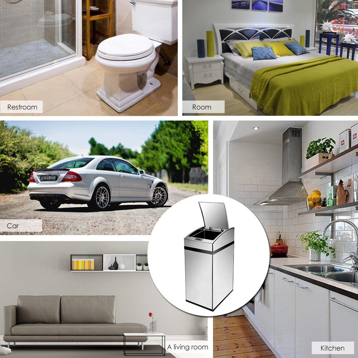Milkee El Acero Inoxidable Automática De Basura Sensor Puede, El Sensor De Infrarrojos Con Cubo Interior 7L: Amazon.es: Hogar