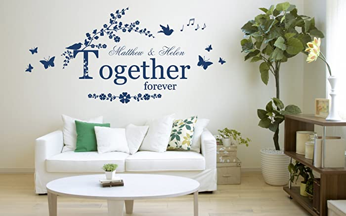 personalised together forever quote vinyl wall art sticker mural