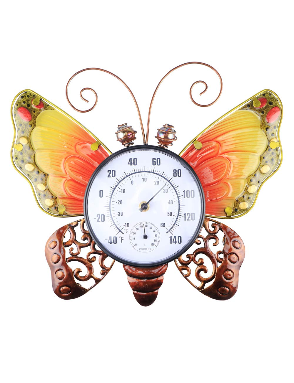 MUMTOP Thermometer Indoor Outdoor 15 Inch Patio Butterfly Waterproof Wall-Mounted Thermometer Does not Require Any Battery