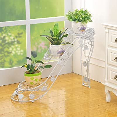 LRW Iron Art Flower Rack Multi-Layer Pot Rack Indoor and Outdoor Living Room Balcony High Heel Creative Flower Stand: Garden & Outdoor