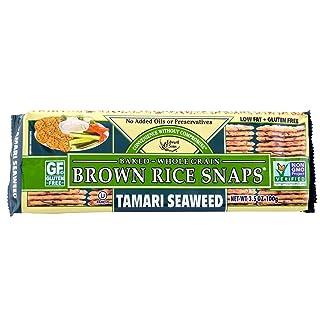Edward & Sons Brown Rice Snaps Tamari Seaweed, 3.5 Ounce Packs (Pack of 12)