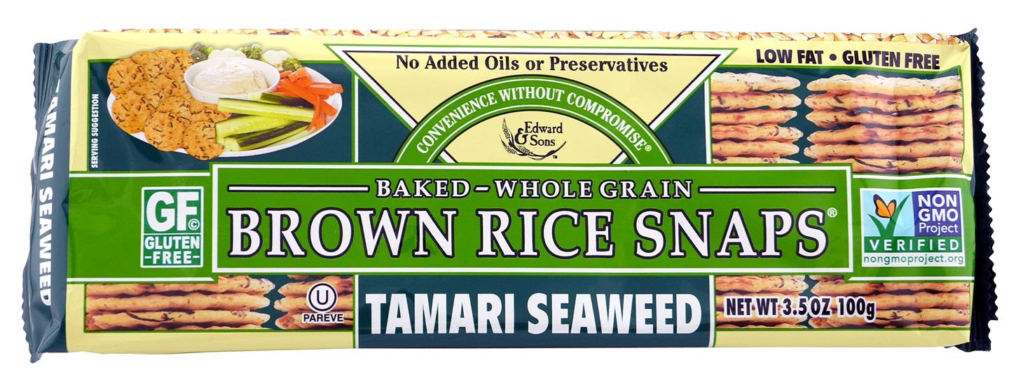 Brown Rice Snaps, Tamari Seaweed, 3.5-Ounce Packs (Pack of 12)