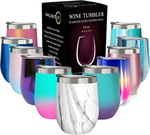 CHILLOUT LIFE 12 oz Stainless Steel Tumbler with Lid - Wine Tumbler Double Wall Vacuum Insulated Travel Tumbler Cup for Coffee, Wine, Cocktails, Ice Cream