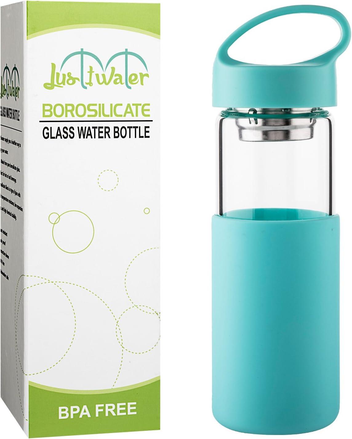 Justfwater Botella de Agua de Cristal con Funda de Silicona con ...