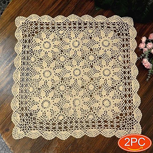Elesa Miracle Handmade Square Crochet Cotton Lace Table Placemats Sofa Doilies Value Pack, 2pc, Square, Beige, 24 Inch