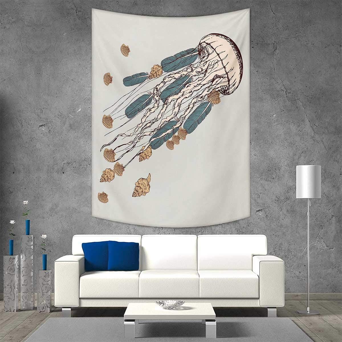 color18 54W x 72L inchVORMOR Jellyfish Wall Hanging Tapestries bluee Spotted Jelly Fish Aquarium Life Marine Animals Ocean Predator in The Deep Water Large tablecloths 40W x 60L INCH bluee
