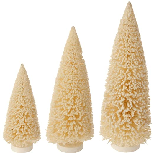 Christmas Tablescape Decor - Champagne glitter sisal bottle brush Christmas trees - Set of 3