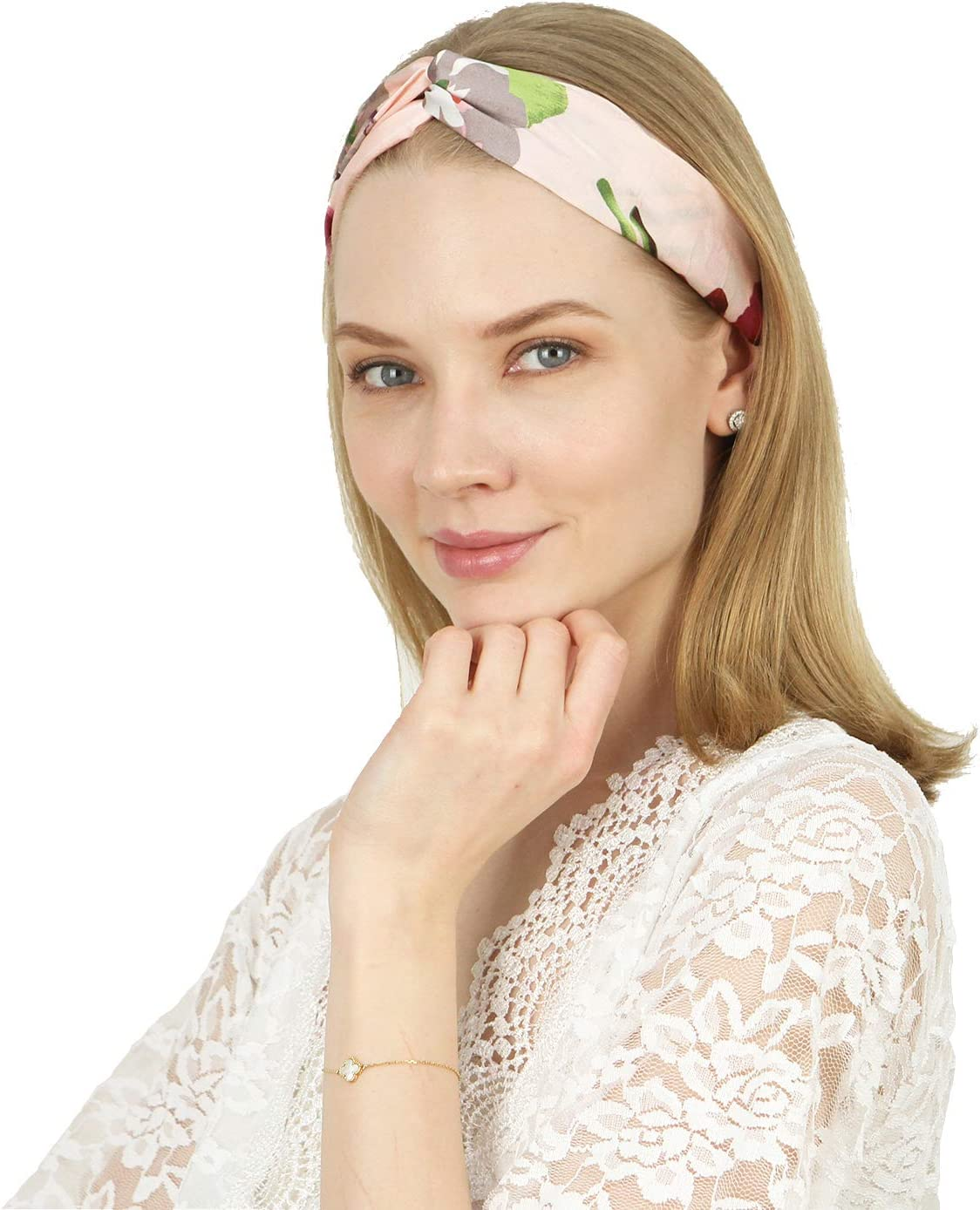 Folora 4pcs Vintage Twisted Criss Cross Elastic Headbands Soft Silk Floral Bohemia Hair Bands for Women Girls