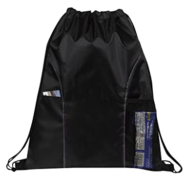 Amazon.com: Dual Pocket Drawstring Backpack Bag (Black): Gym ...