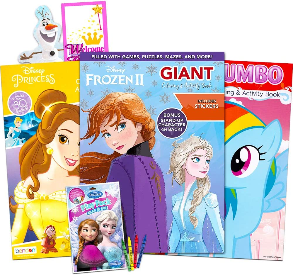 modern Disney MLP Coloring Book Super Set for Girls -- 12 Giant Coloring Books  Featuring Disney Princess, Frozen and My Little Pony (Includes Disney  Princess design