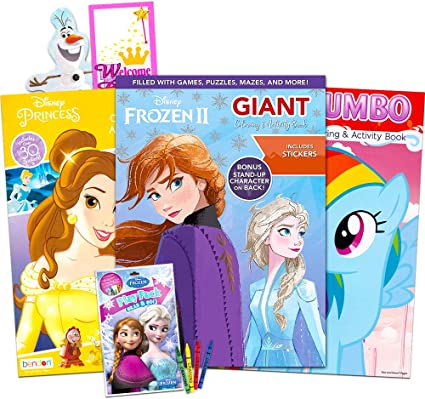 - Amazon.com: Disney MLP Coloring Book Super Set For Girls -- 3 Giant Coloring  Books Featuring Disney Princess, Frozen And My Little Pony (Includes Disney  Princess Stickers): Toys & Games
