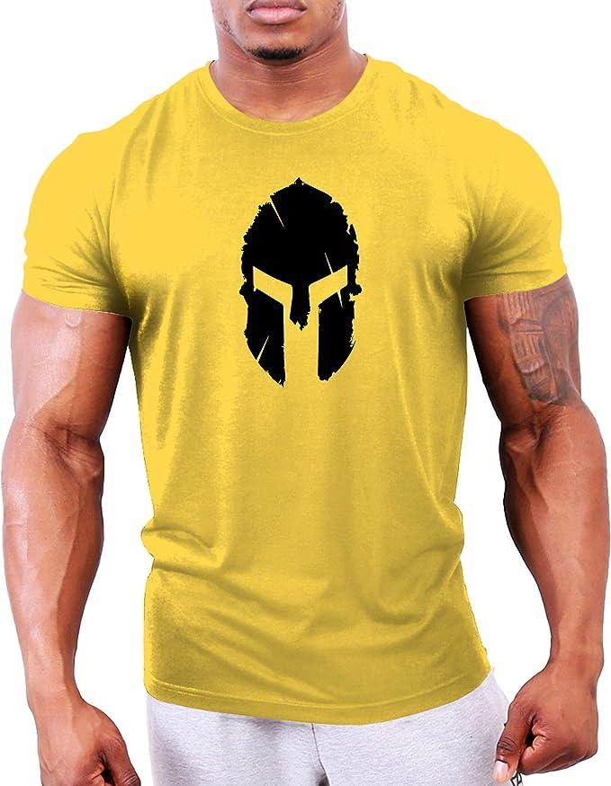 GYMTIER Camiseta Culturismo Hombre Top Entrenamiento Gimnasio Spartan Helmet