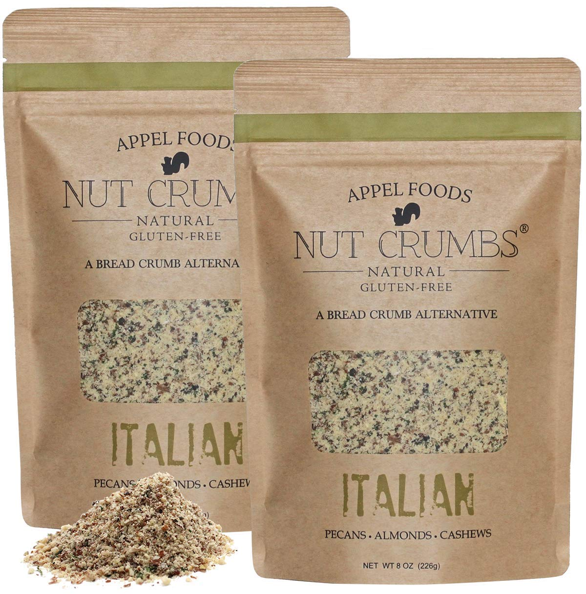 Appel Foods - Nut Crumbs - Bread Crumb Alternative - Gluten Free - Sugar Free - Low Carb - Low Sodium - Raw, Premium Nuts - Italian 2pk by Appel Foods Nut Crumbs Natural Gluten-Free A Bread Crumb Alternative