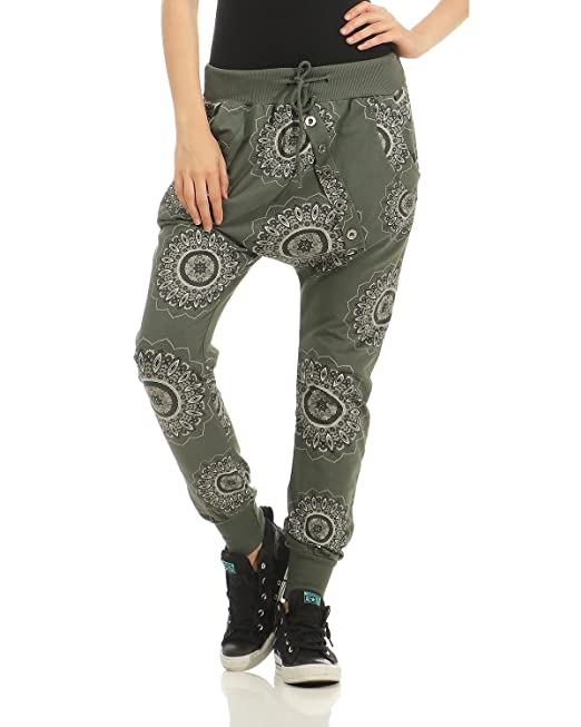 ZARMEXX trendy Damen Sweatpants Baggy Boyfriend Freizeithose Jogginghose  Baumwolle Sporthose Loose fit (armee, 36 319750439a