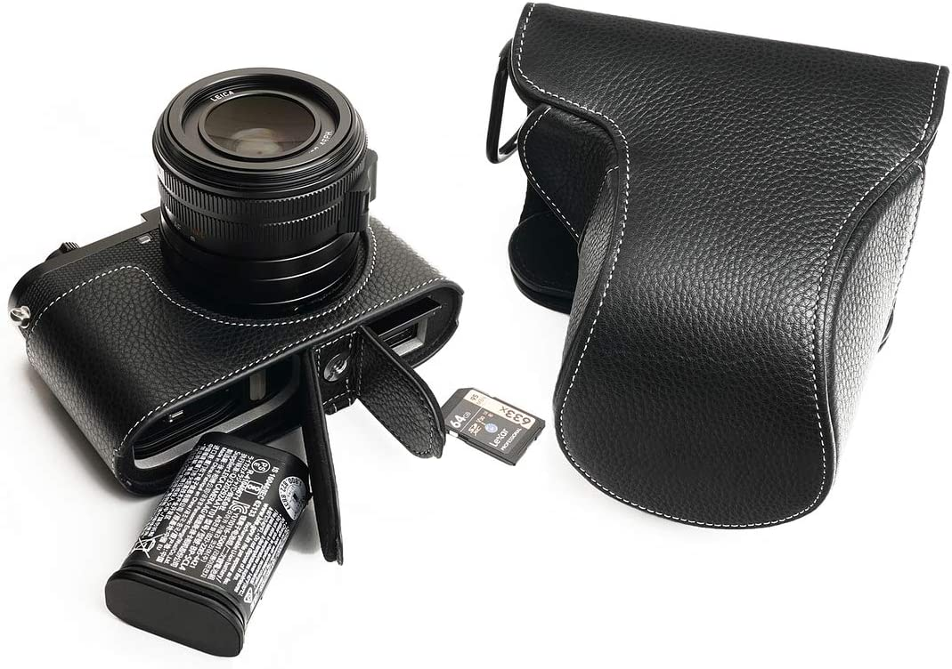Handmade Genuine Real Leather Full Camera Case Bag Cover for Leica Q2 Black Color