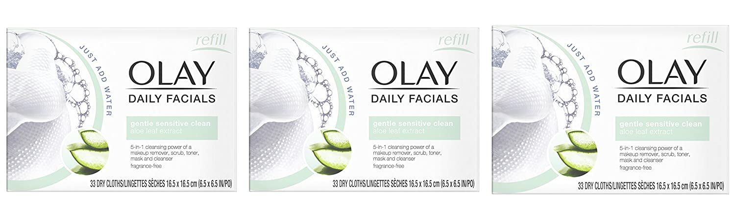 Eye Makeup Remover Wipes by Olay Daily Facials, Soap-Free and Fragrance-Free Cleanser Cloths, 33 Count (Pack of 3) Packaging may Vary