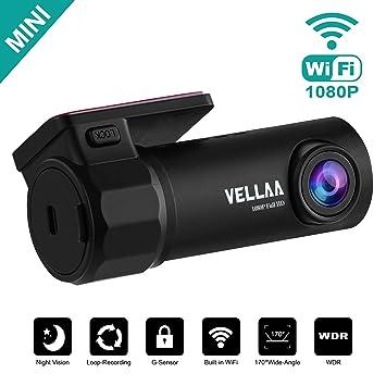 VELLAA Dashcam Cámara de Coche Full HD 1080P, Wi-fi Incorporado Cámara para Coche