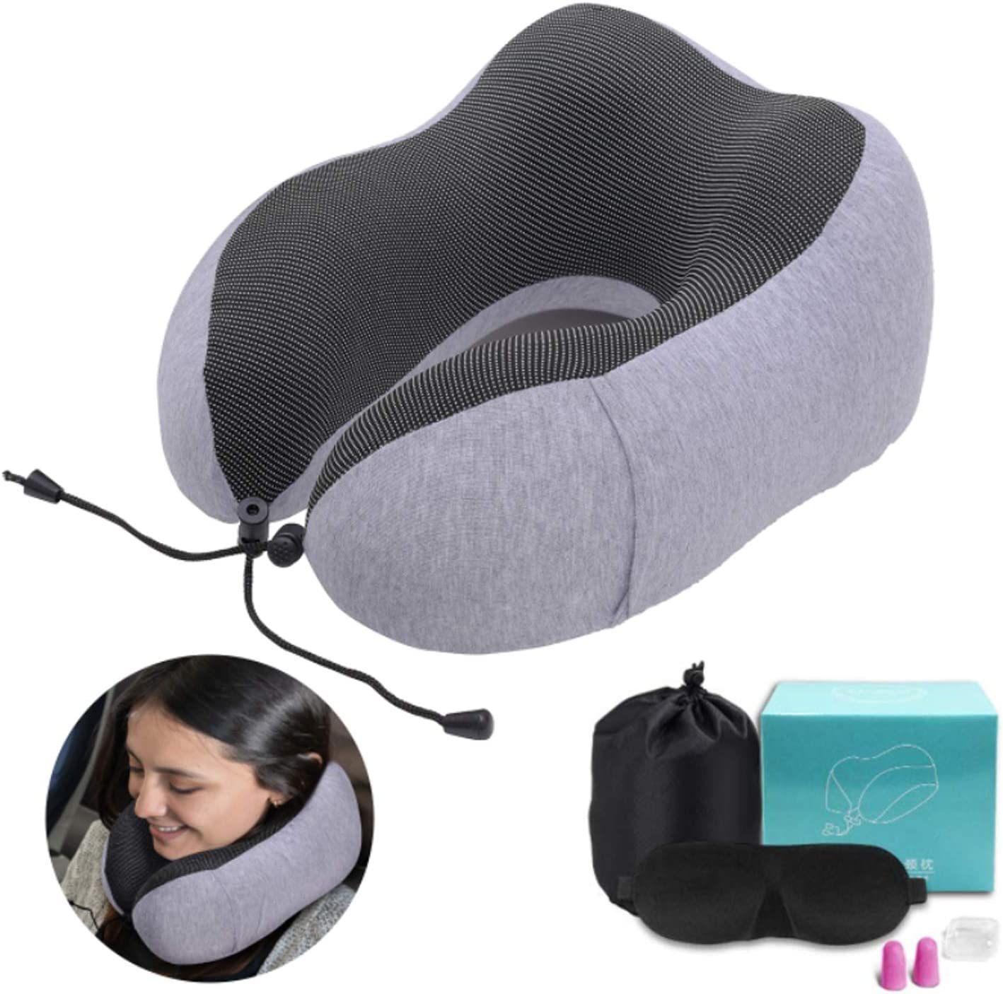 Neck Head Support Cushion Mesh fabric PROMIC Memory Foam Car Cushion Travel Pillow Car Pillow Fits Car Home Office Chair