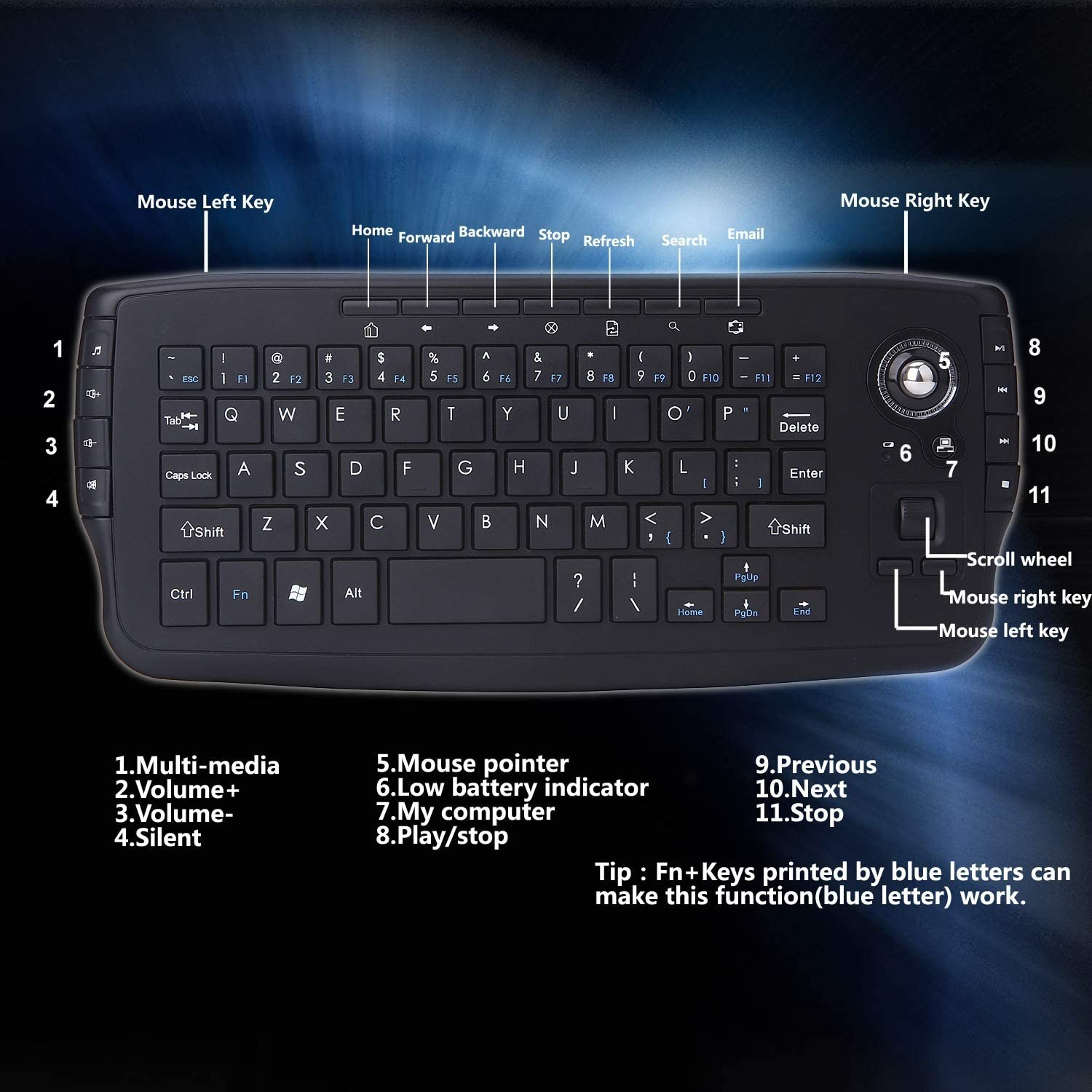 USB Notebook Universal Excellent Quality HAOYUSHANGMAO 2.4G Wireless Mini Computer Keyboard Mouse Trackball Color : Black