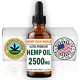 HEMP YOUR WORLD Hemp Oil Drops - 2500mg - Made in USA - 100% Organic Hemp Oil Extract for Pain Relief Anti-Inflammatory Joint Support Sleep Aid Supplements Premium Omega 3 & 6 Vegan Food Grade NO THC