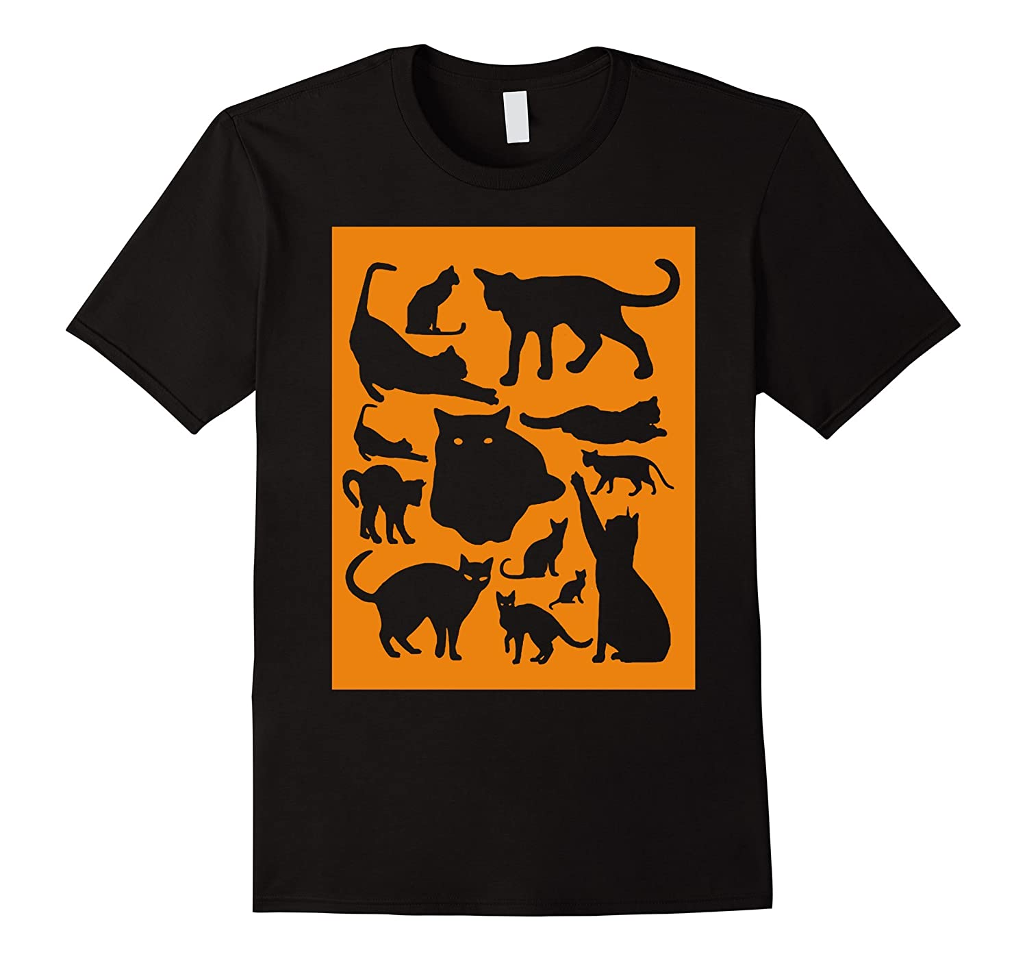 13 Black Cats Silhouettes on Orange for Cat Lovers B112-CL