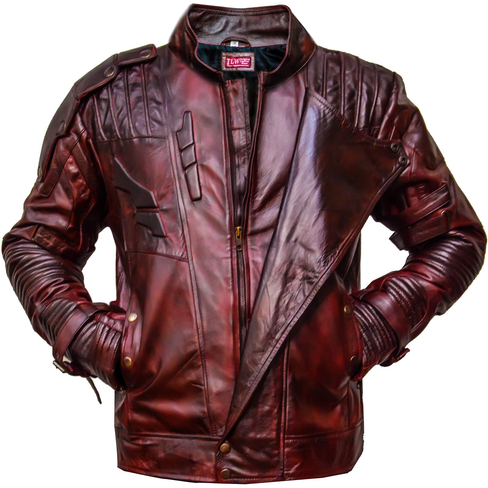 Galaxy 2 Star-Lord Guardians of The Galaxy Leather Jacket, Faux, Maroon - S by Dizller