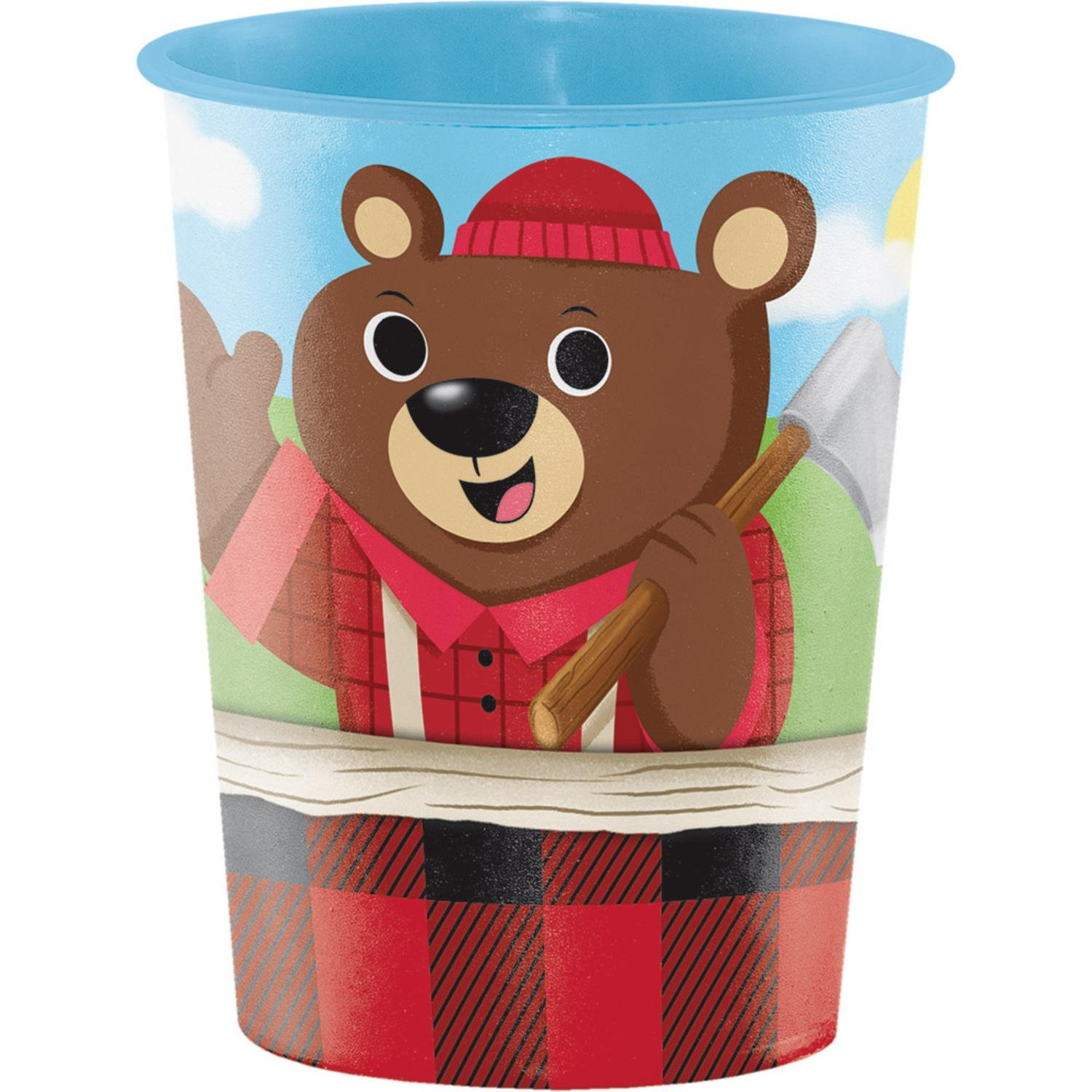 Club Pack of 12 Red and Brown ''Lum Bear Jack'' themed Keepsake Cups 4.5''
