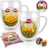 Teabloom Double Walled Glass Mugs & Flowering Tea Gift Set (Set of 2 Mugs + 2 Tea Flowers) - 12 oz Borosilicate Glasses + Blooming Teas