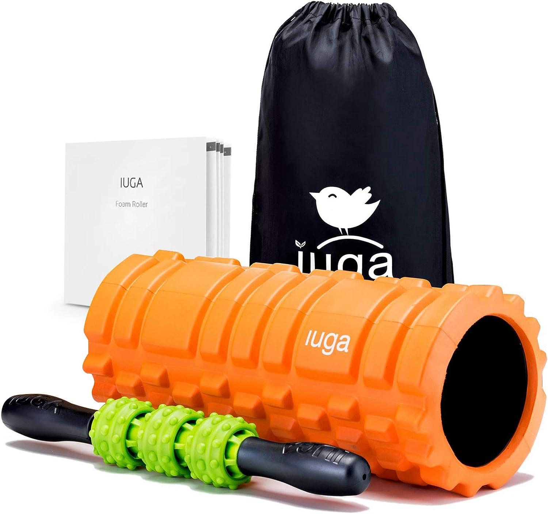 Rodillo Muscular para Ejercicios Masaje Muscular de Tejido Profundo IUGA Rodillo de Espuma y Palo de Masaje 2 en 1 Yoga y Pilates Terapia de Puntos de activaci/ón