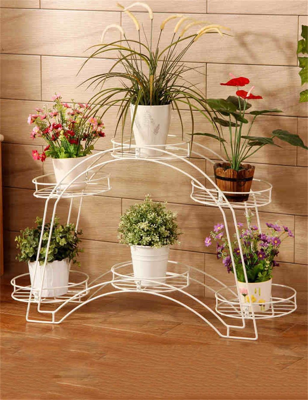 Arched Flower Pot Regal Europäische Eisen Wohnzimmer Balkon Doppelschicht Flower Pot Rack