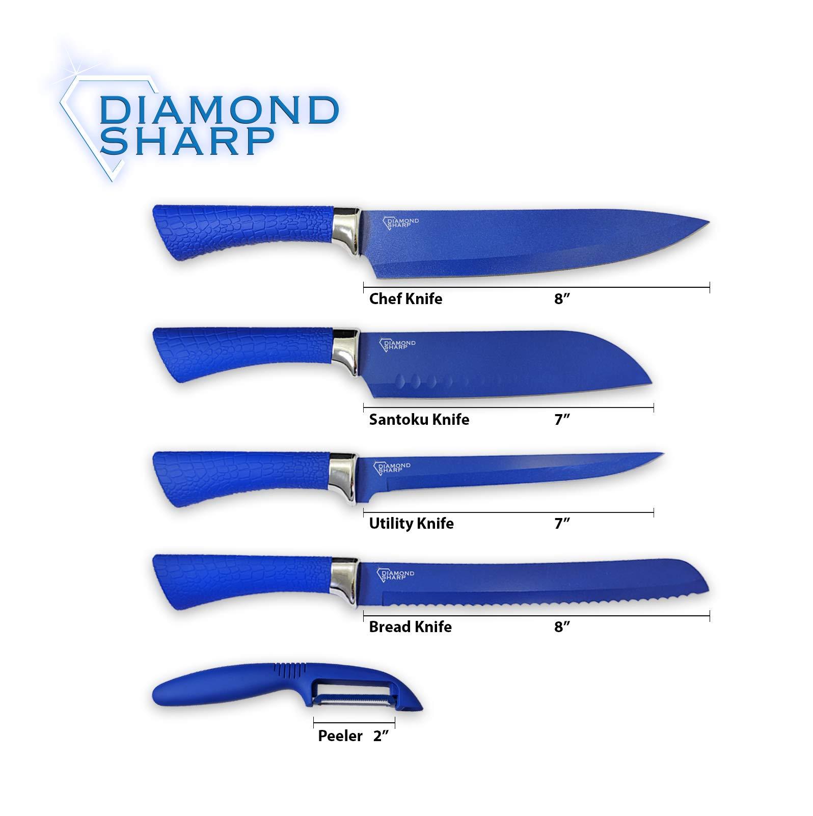 Diamond Gourmet DSMC6/DSKS 4 Pack Diamond Sharp Chef Knife Set, 1 box (4 units), Blue