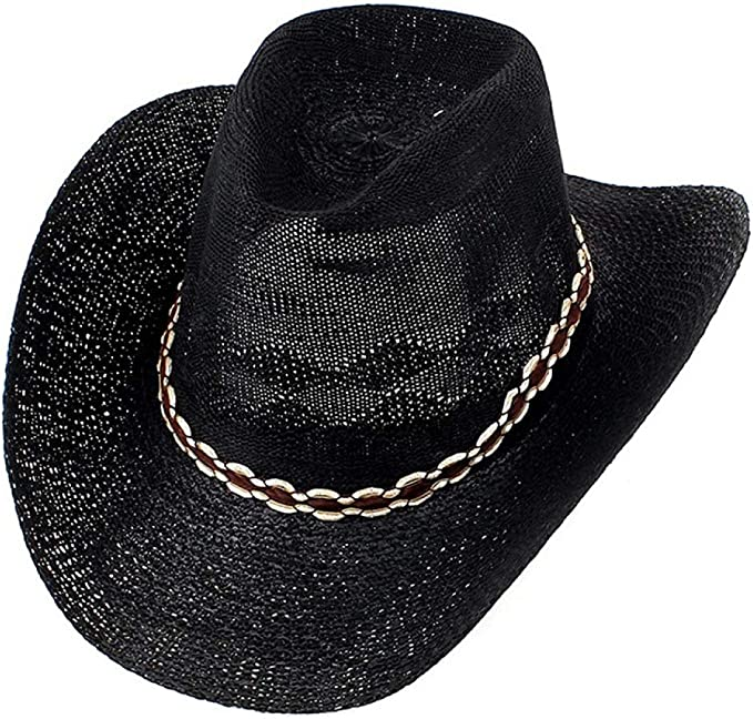 ASO-SLING Unisex Weave Straw Western Cowboy Hat Beach Sunhat Cattlemen Hat with Black Leather Band