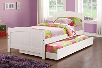 twin bed wtrundle in white color pine wood by poundex