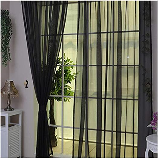 3cc5eee4f16 2 Pcs Solid Color Tulle Voile Sheer Curtains Width 39 quot x78 quot  Tulle  Sheer Window