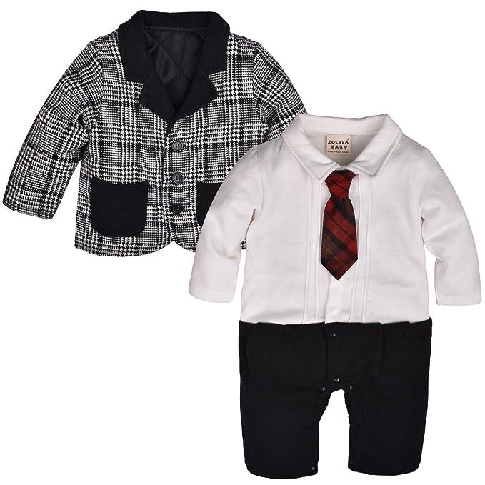 zoerea 2 piezas Baby abrigo + Pelele Smoking para niño niños pequeños Body Ropa Gentleman total